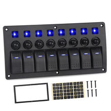цена на 3 4 6 8 Gang Rocker Panel Switch For Car Truck Marine Boat Led Switch Panel 12v Circuit Breakers USB Car Charger Led Voltmeter