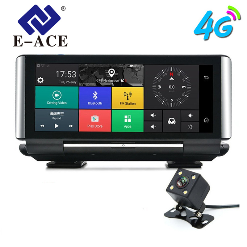 E-ACE Car DVR GPS 4G Navigation Tracker 6.86″ Android 5.1 Car Camera WIFI 1080P ADAS Video Recorder For Car Tourism Navigators