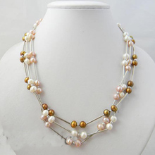 New Arriver Real Pearl Jewellery,3 Rows 4-7mm White Golden Pink Freshwater Pearl Necklace,New Free Shipping new arriver real pearl jewellery 48inches 4 16mm gray rice freshwater pearls smoke crystal beads necklace free shipping