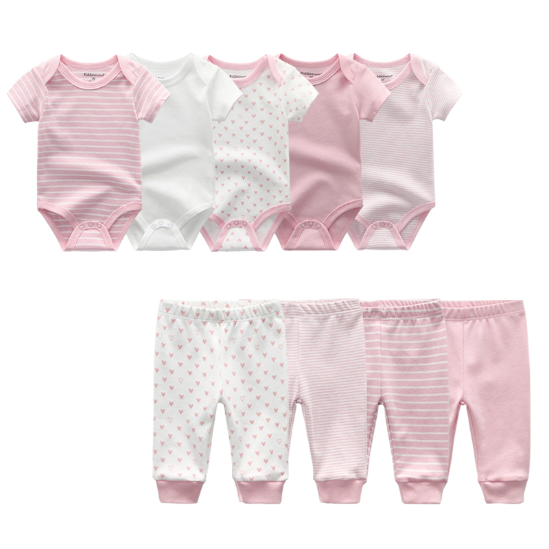 9 Pieces Baby Clothes Pants Summer Newborn Baby Clothes 5 Short Sleeve Baby Rompers + 4 Pants 100% Cotton Boy Girls Clothing Set