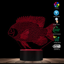 Seabed Fish Art Decor 3D Acrylic Ocean Animal LED Optical Illusion Table Lamp Kid Room Novelty Night Light With Colors Changing