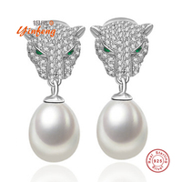 New Fashion 925 Sterling Silver Leopard Stud Pearl Earrings High Quality Fine Jewelry For Women 4