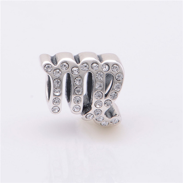 ca681a84b 925 Sterling Silver Beads Floating Virgo Zodiac Charm with CZ Fits Pandora  Charms bracelets Necklaces & Pendents