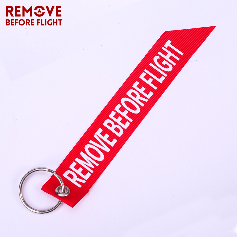 Remove Before Flight Streamer Key Chain Chaveiro Red Print Keychain Ring For Aviation Gifts Key Ring Jewelry Soft Key Fob