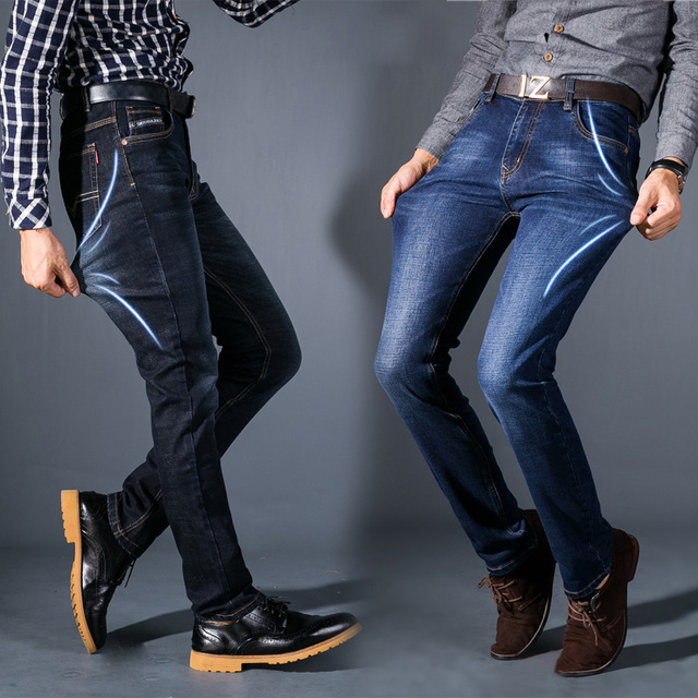 New Men Elasticity Jeans Fashion  Business Casual Men 's Jeans  High Quality Slim Small Straight Jeans Male Brand Size 28-42