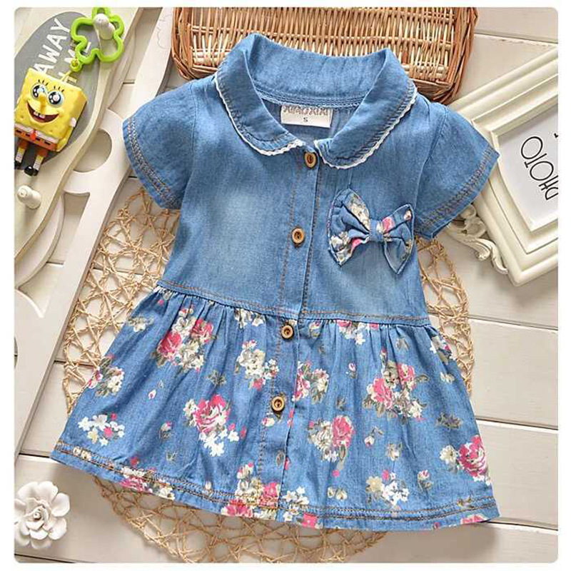 DreamShining Spring Baby Girl Dress Denim Floral Bow Children Clothing Kids Clothes Short Sleeve Infant Baby Girl Princess Dress spring new princess kids toddler girl denim dress kid little girl suspender dress baby clothes mermaid dress free drop shipping
