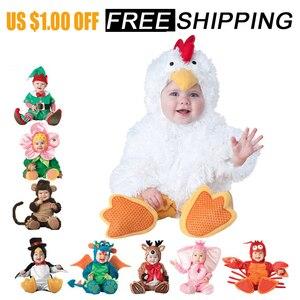 Image 2 - 2019 nieuwe Baby Rompertjes Winter Dier Piraat Dinosaurus Penguin Kerstman Herten Peuter Kerst Carnaval Halloween Elf Kostuum