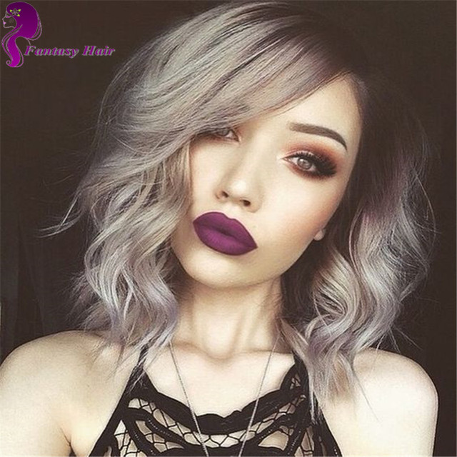 Short Bob Lace Front Wig Dark Roots 1b Silver Grey Human Fashion Brazilian Ombre