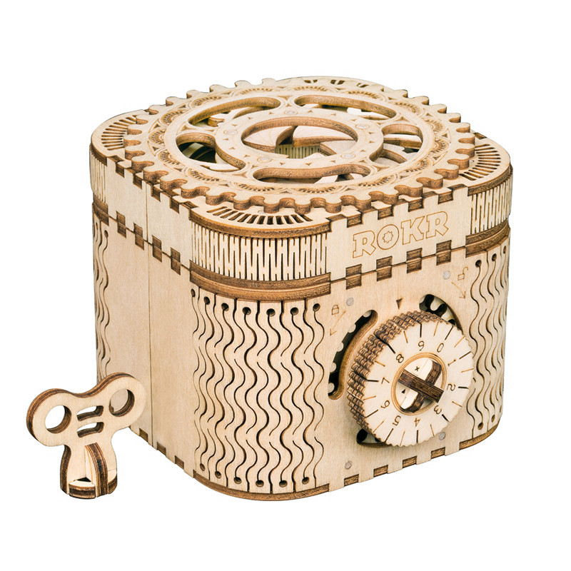 Robud New Arrival Creative DIY 3D Treasure Box Calendar Wooden Puzzle Game Assembly Toy Gift for