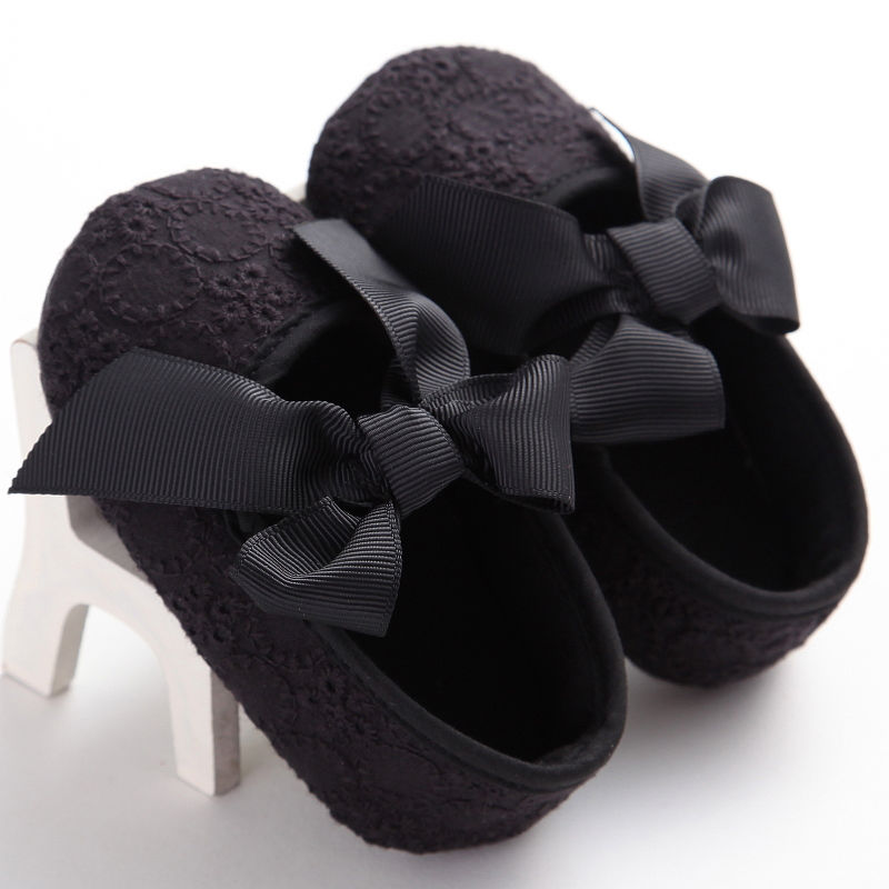 Cute Baby Shoes First Walkers Toddler Infant Baby Girl Boy Flower Bowknot Shoes Crib Shoes Soft Sole Prewalker Black White 0-18M