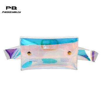 Unisex Clear Belt Handbags Hologram Laser Waist Colorful Casual Beach Waterproof Waist Pack PortableTravel Cashier Pouch Bolsas holographic belt purse