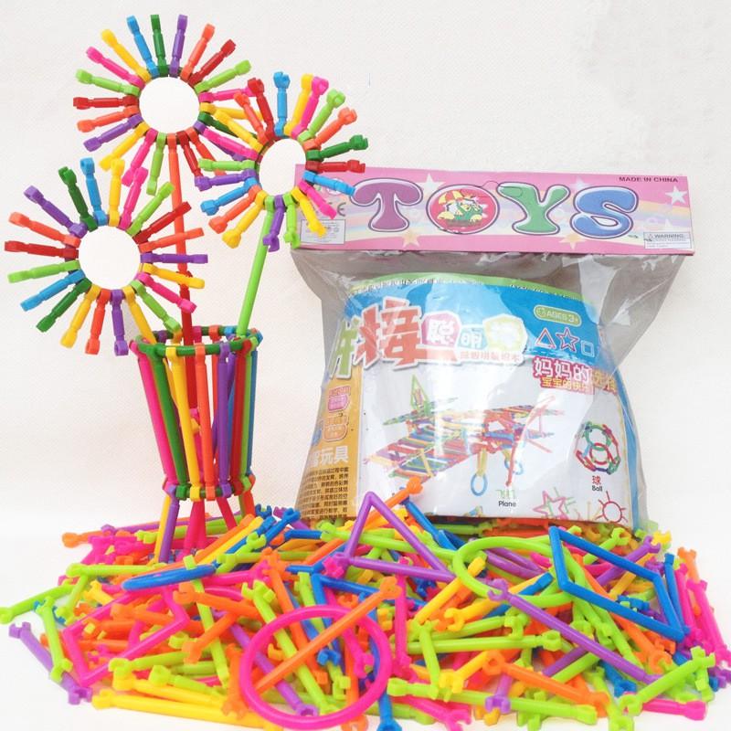 New 256Pcs/bag Baby Plastic Intelligence Sticks Early Learning Gifts Educational Building Blocks Toys Handmade DIY H1 256pcs plastic educational building blocks toys baby intelligence sticks diy baby montessori early learning gift block toys