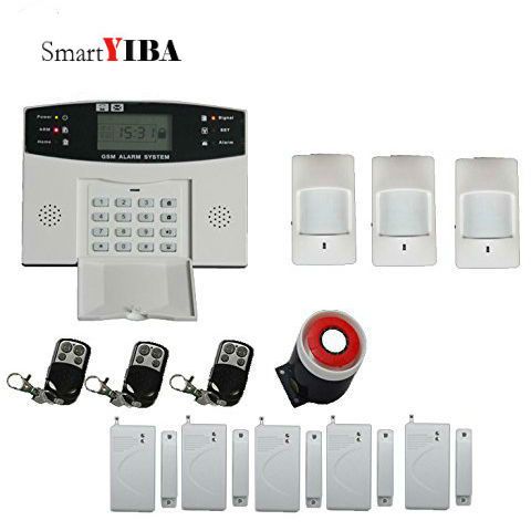 SmartYIBA Cheap LCD Display French Russian Spanish Italian Czech Voice Prompt GSM Wireless Burglar Alarm System Home Security russian french spanish prompt voice smart home security gsm alarm system wireless remote control by sms calling with lcd display