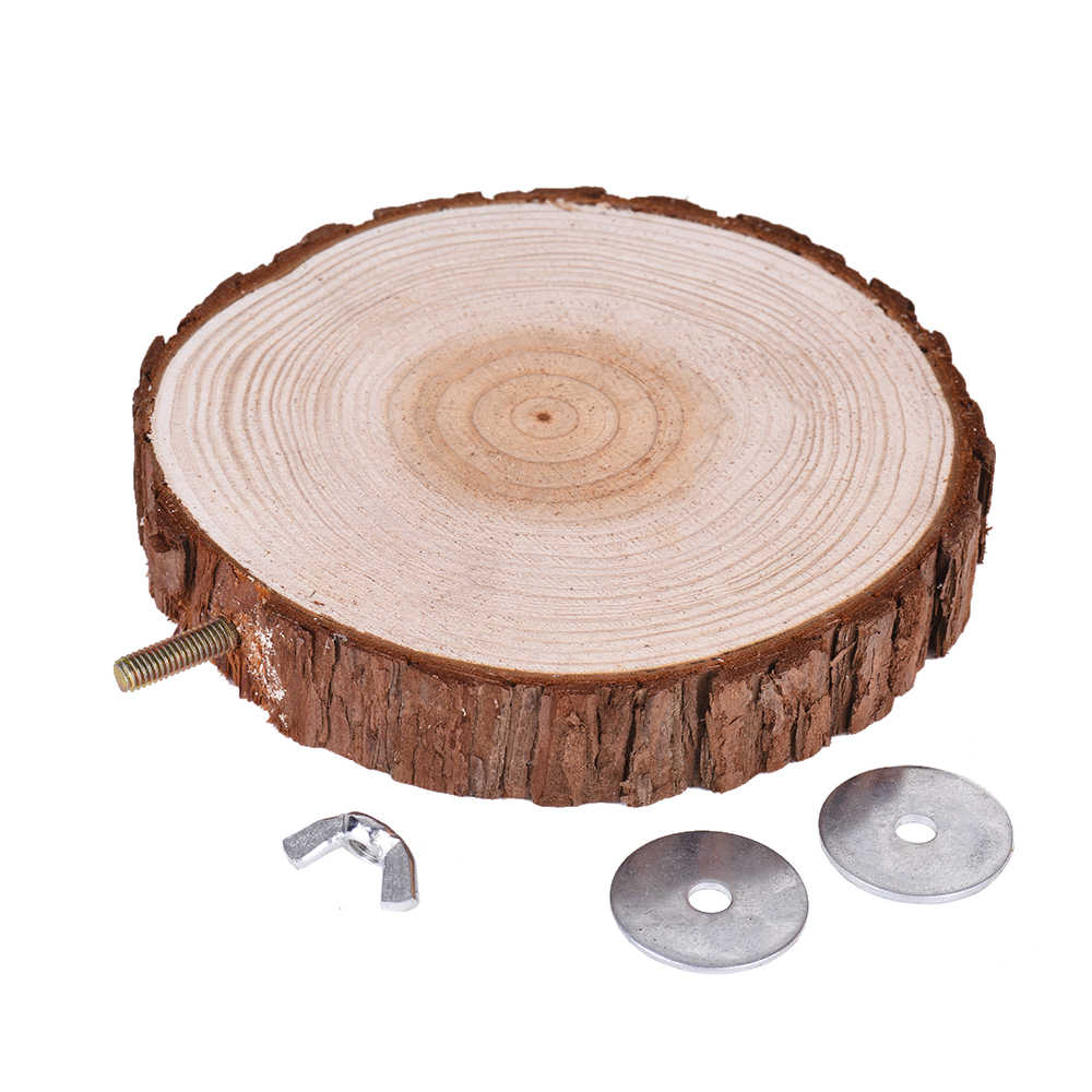 Bird Cage Accessories Pet Round Wooden Coin Jumping Platform Chew Toy for Parrot Parakeet Cockatiel Squirrel Hamster Totoro