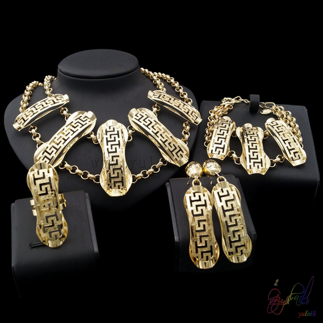 Yulaili Free Shipping Top Quality Ethnic Design Ethiopia Ladies Four Pieces Big Jewelry Sets yulaili free delivery hot sell factory ethiopia design copper alloy four pieces ladies big jewelry sets