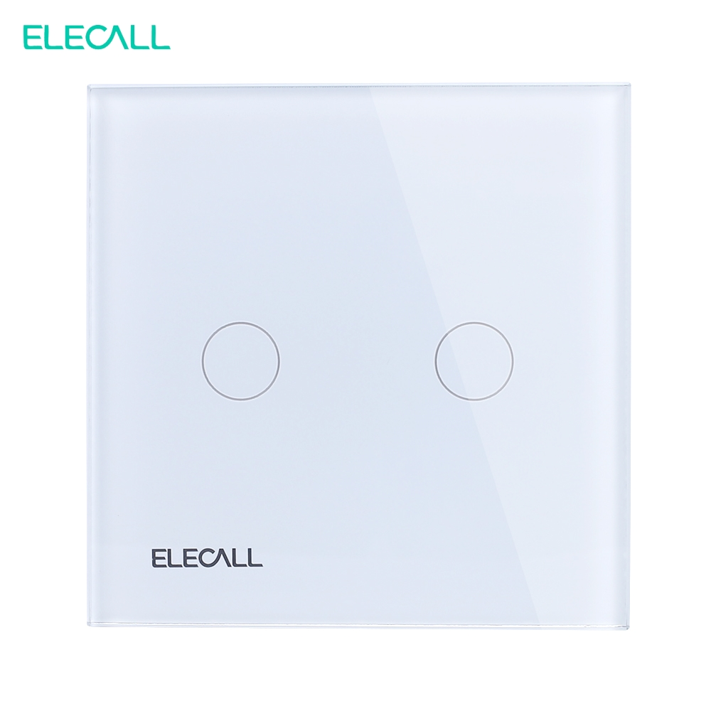 ELECALL Remote Control Switch 1 Gang 2 Way Smart Wall Touch Switch+LED Indicator Crystal Glass Switch Panel SK-A802-03EU 2 gang 1 way remote control switch white crystal glass switch panel eu wall touch switch smart switch 1 way