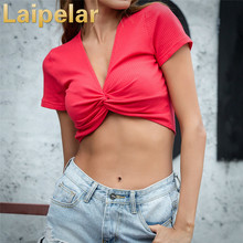Laipelar New trendy Women Crop Top Sexy Deep-V neck Short Sleeve Sweater Tops Colorful Clothes Solid Camisetas Mujer