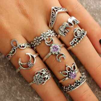 Finger Silver 0 Flower Crystal Sculpture Elephant Ring 8cm 6 1 Set 1 7inch Elegant Ring 0 10Pcs of Jewelry 5 Pack