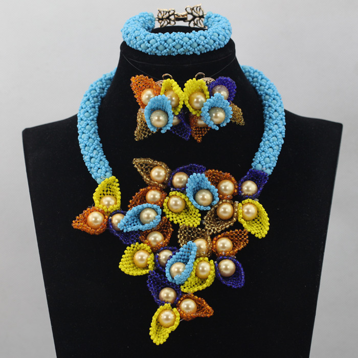 Latest Blue Shinny Wedding Nigerian Beads Jewelry Set Multicolor Rainbow Floral Beaded Bib Necklace Set Gift Free ShipABL689