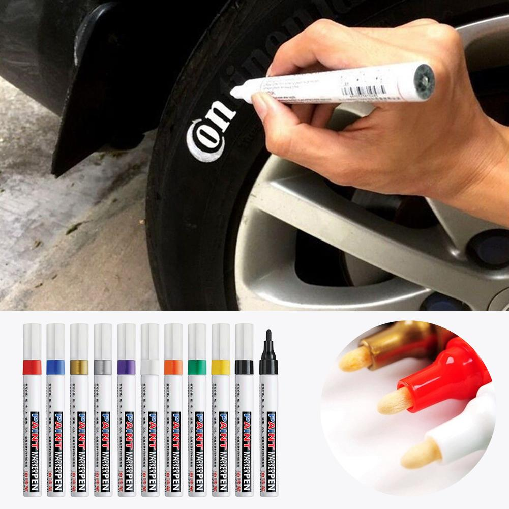 10 color oily waterproof car paint pen Scratch repair pen remover marker pen Car tire tread rubber Can be Remarks color(China)