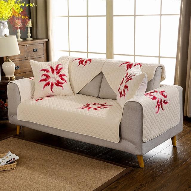 Franela invierno felpa cubierta pescado bordado acolchado sofá ...