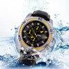 Mens Sport Watch Waterproof 3 ATM Date Watches Analog Quartz PU Leather Band Chronograph Wrist Watch
