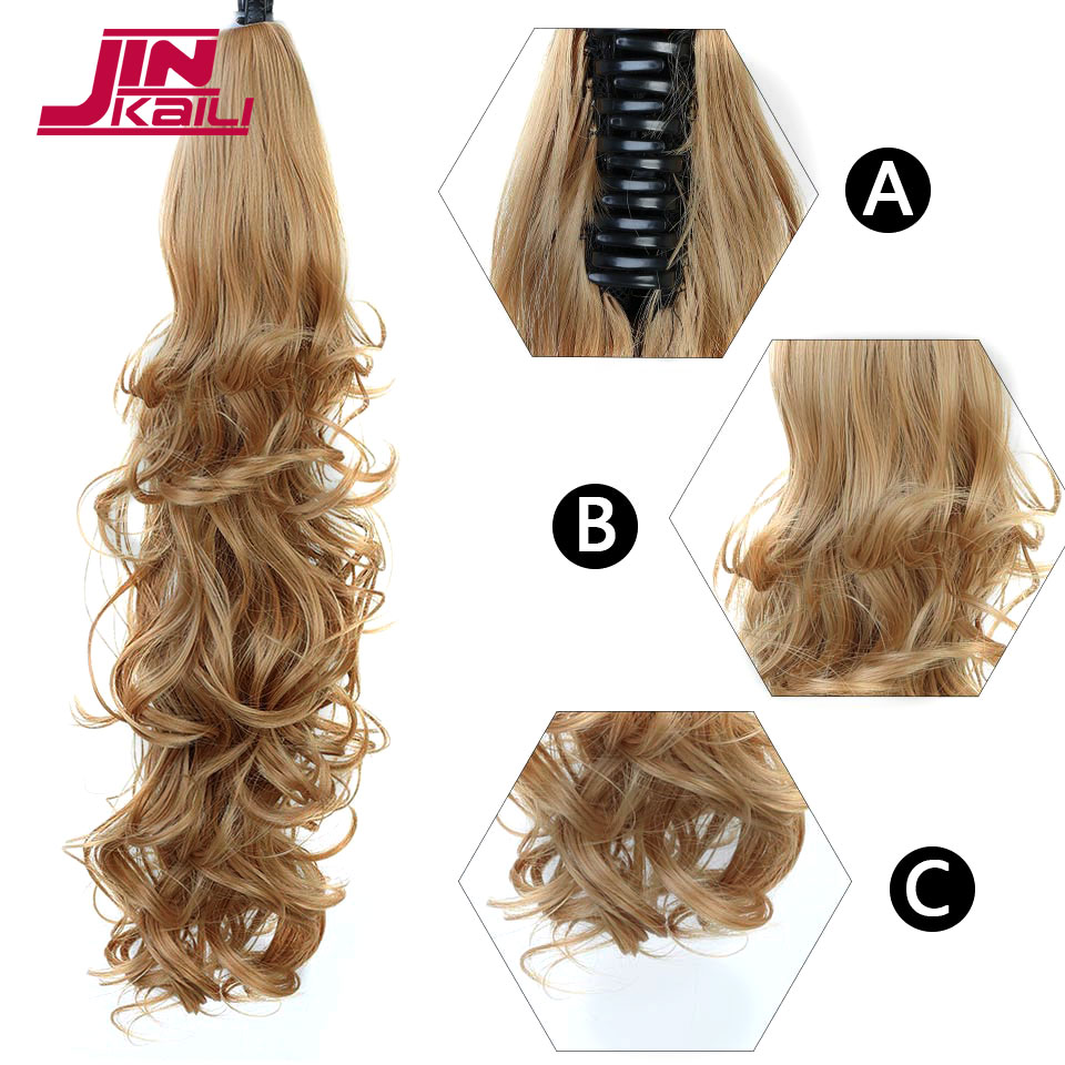 JINKAILI Synthetic Women Claw on Ponytail Clip in Hair Extensions Curly Style Pony Tail Hairpiece Brown Blonde hairstyles