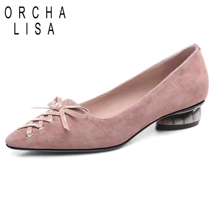 ORCHA LISA femmes chaussures en cuir véritable appartements bout pointu bateau chaussures croix en peau de mouton sans lacet noeud troupeau noir rose C1116