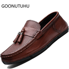 2019 new style fashion men's shoes casual genuine leather loafers male nice slip on shoe man flat driving shoes for men hot sale zyyzym men casual shoes pu leather fashion trend light flat driving loafers shoes for man hot sales