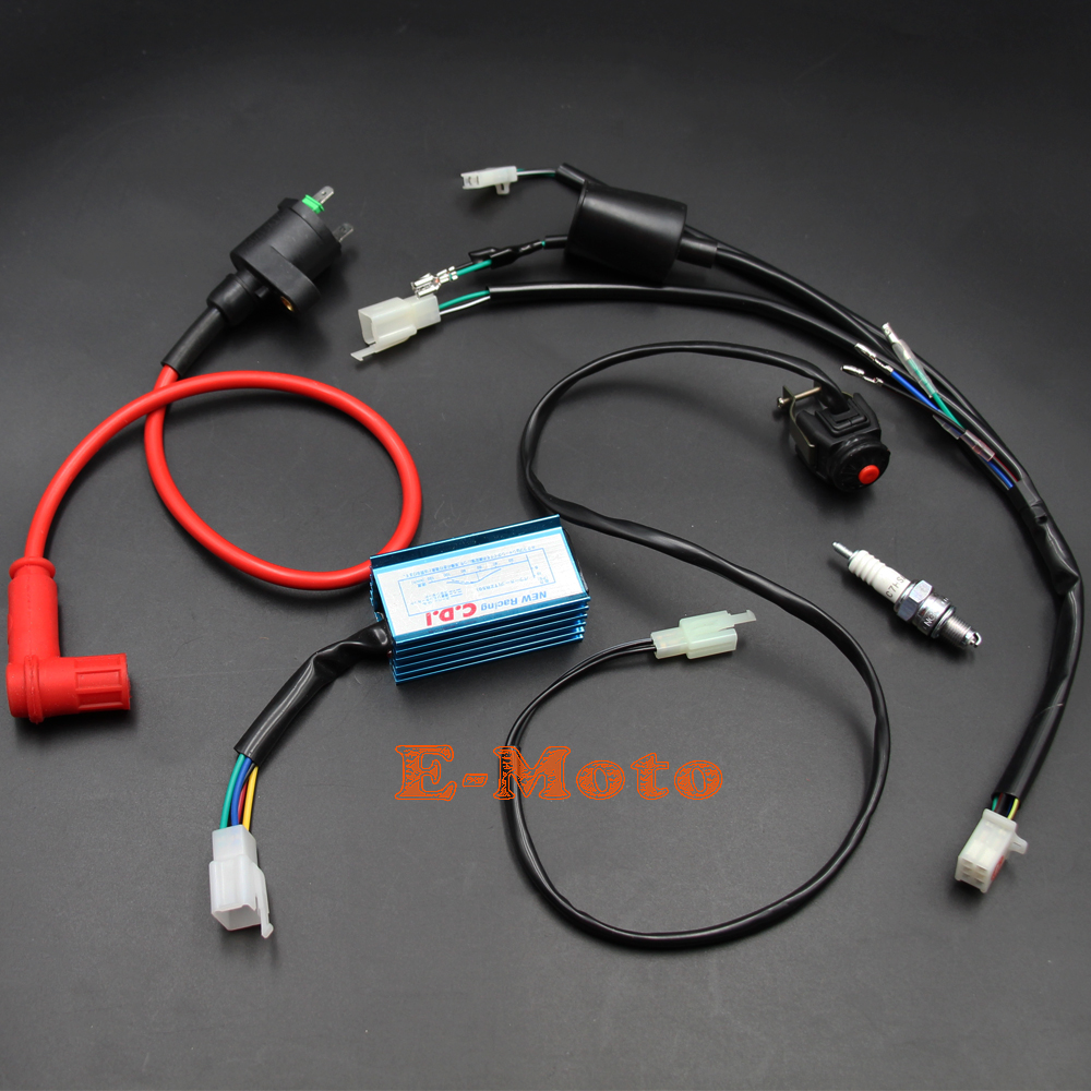 Complete Kick Start Engine Wiring Harness Loom CDI Coil Switch C7HSA Spark Plug Kit For 50cc 70cc 90cc 110cc 125cc 140cc PIT PRO Trail Dirt Bike