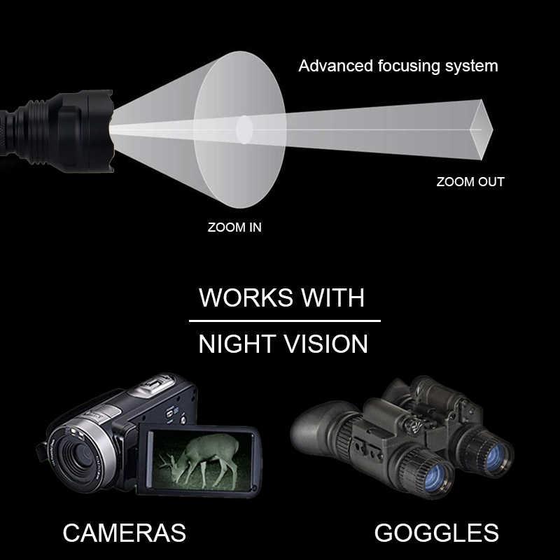 Nuevo IR-501b enfoque con zoom caza luz infrarroja radiación arma luz IR 940nm visión nocturna impermeable linterna táctica
