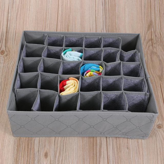 30 Cell Foldable Drawer Organizer Underwear Bra Scarfs Socks Organizer Bamboo Box Bamboo Charcoal Clothes Storage Box