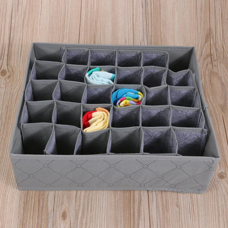 30 Cell Foldable Drawer Organizer Underwear Bra Scarfs Socks Organizer Bamboo Box Bamboo Charcoal Clothes Storage Box ...