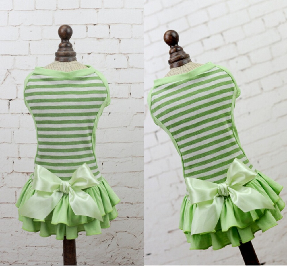 New Dress for Small Pets Dog Dress Green Stripe Pet Skirt Homewear Dress Soft Green XS XS S M L XL
