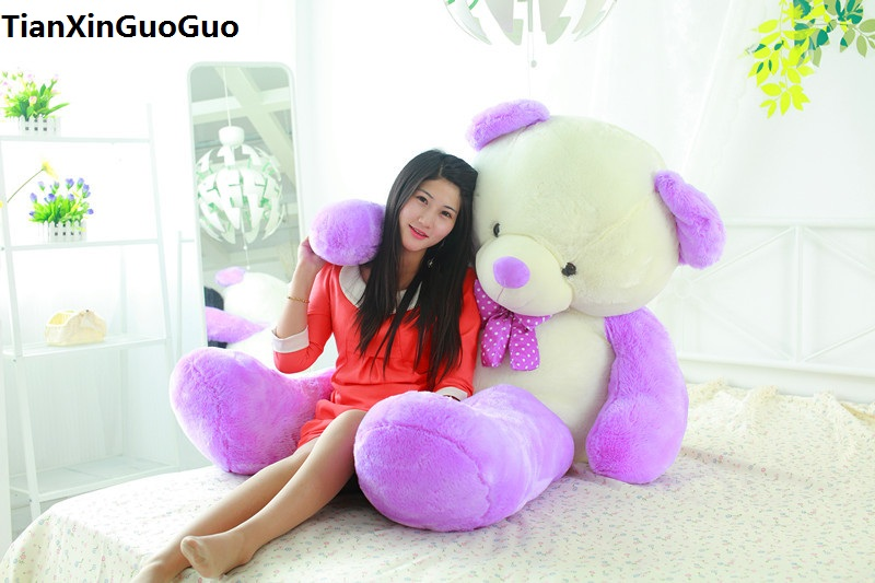 stuffed toy huge 140cm teddy bear soft plush toy purple&white bear soft doll hugging pillow birthday gift s0389 stuffed animal largest 200cm light brown teddy bear plush toy soft doll throw pillow gift w1676