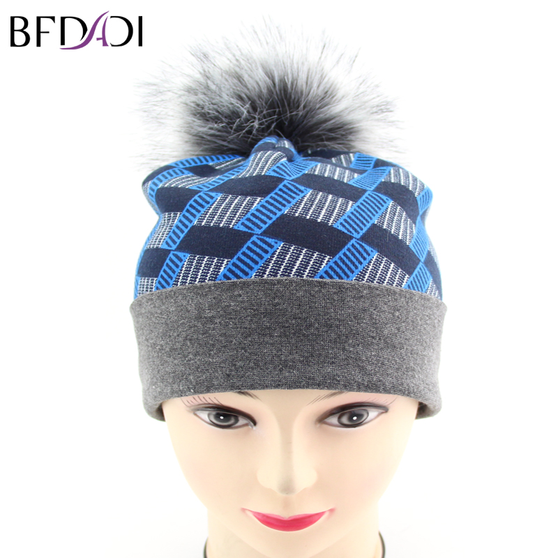 BFDADI Autumn Winter Beanies Hat Unisex Knitted Skullies Casual Cap With Faux Fur Print Cap skullies