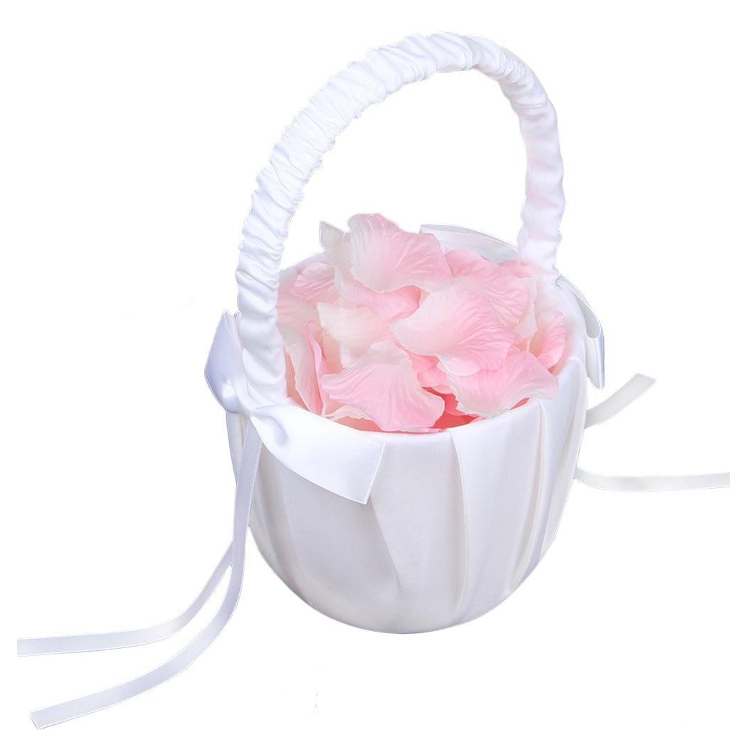 Soft Satin Bowknot Rinbon Flower Girl Basket for Wedding Ceremony ...