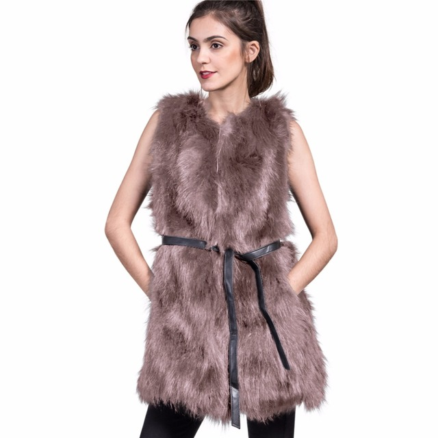 Winter Plus Size Faux Fur Jacket Women Natural Faux Fur Vest Gilet Sleeveless Lapel Outerwear Jacket Coat Hair V-neck Waistcoat