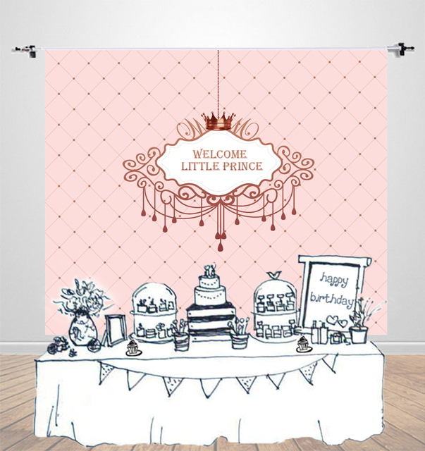 Happy Birthday Party Background Pink Girls Baby Shower Dessert Table