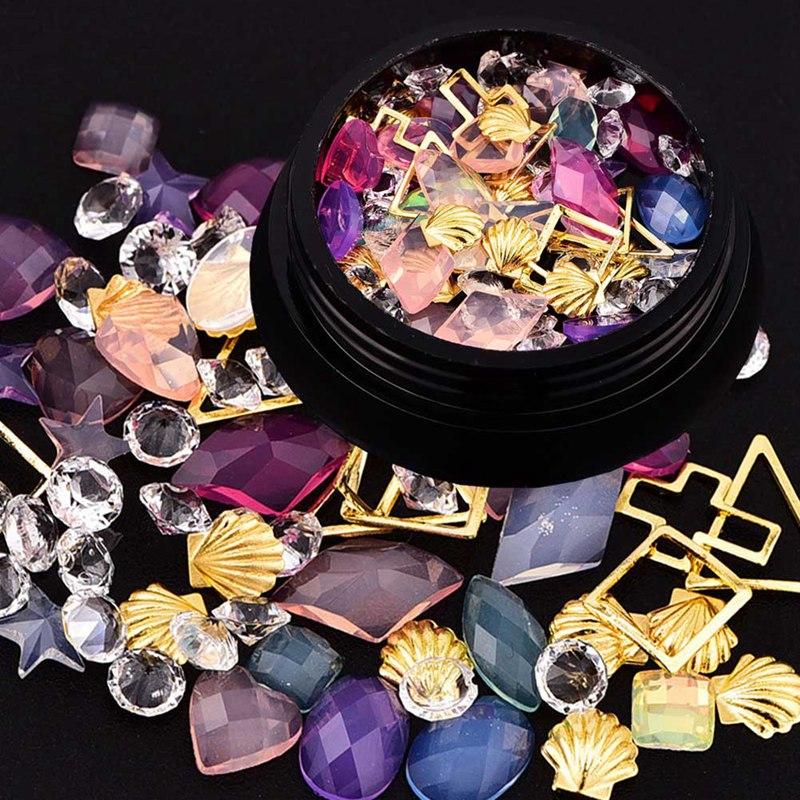Mixed Glitter Nail font b Jewelry b font Crystal Rhinestone 3d Rhinestone Nail Art decoration Accessoires