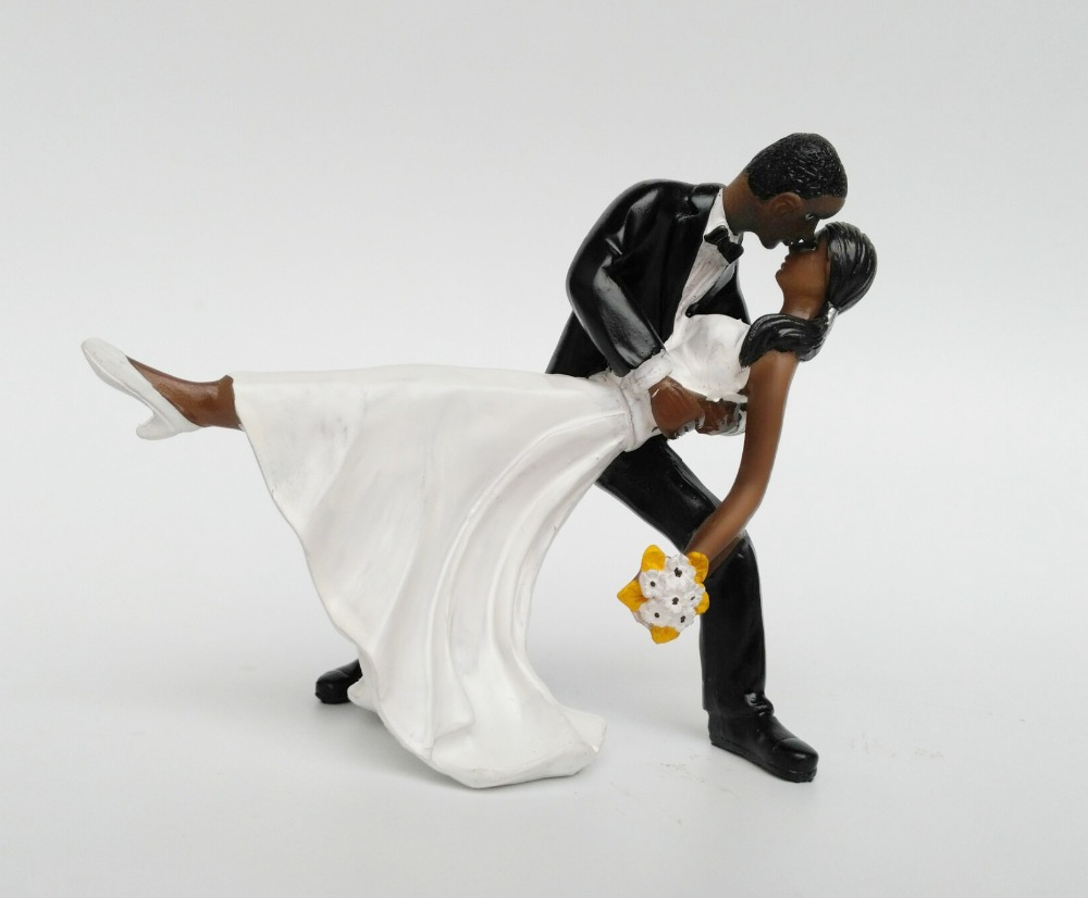 1 Pc African American sweet love Figurine Bride Groom Wedding Cake Topper marriage Event Party Supplies anniversary resin Black