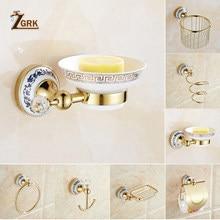 ZGRK Bathroom Wall Mount All Copper Chrome Design Paper Roll Holder Toilet Gold Paper Holder Tissue Box Bathroom Accessories