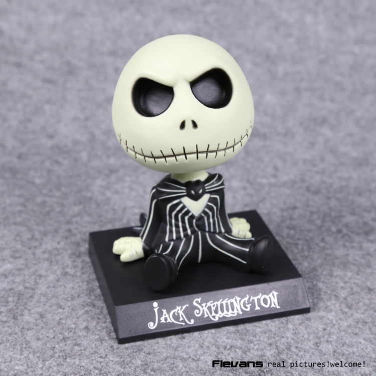 10cm The Nightmare Before Christmas Jack Wacky Wobbler Bobble Head Doll Pvc Action Figure Collectible Model Toy