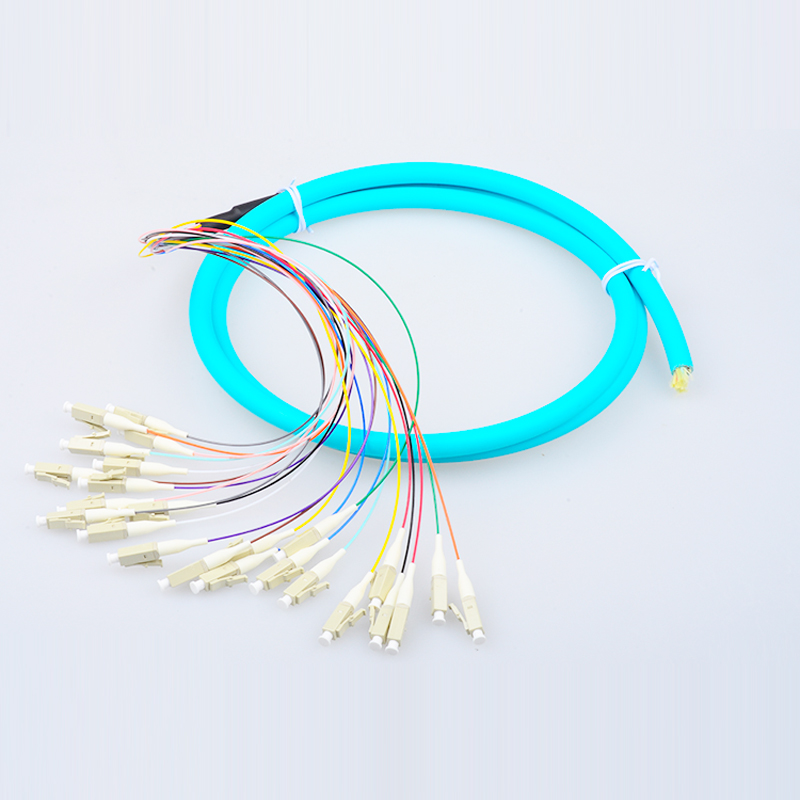 LC 24 cores fanout fiber pigtail/indoor lc patch cable om3 Pigtail LC multimode 1.5M fanout fiber optic Pigtails Free shipping