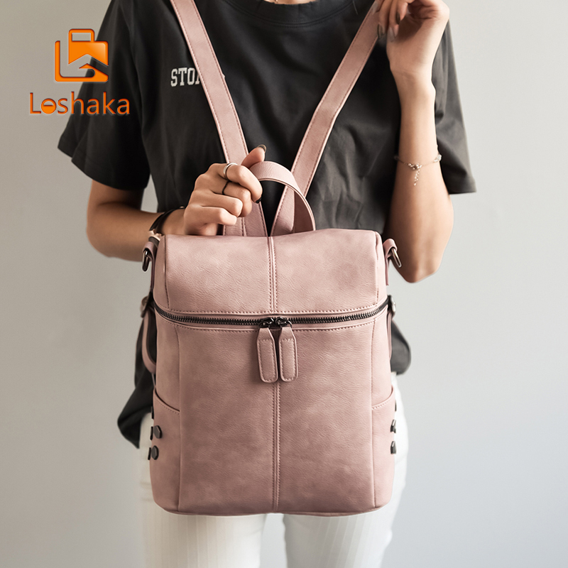 Loshaka Simple Style Women Backpack Leather PU Backpack Bags For Teen Girls School Fashion Backpack Vintage Solid Shoulder Bags