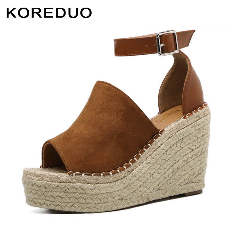 KOREDUO Women Fashion Ankle Strap Open Toe Wedge Sandals 2018 Summer Platform Wedges High heels Women Platform Sandals Shoes msw boldees chic women open toe wedge sandals awesome purple suede dress shoes super high platform nighclub sandals hot plus size43