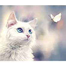 Diamond Painting 5D DIY Full Drill Round Diamond Embroidery Cat and Butterfly Pattern Mosaic Stickers Cross Stitch цена