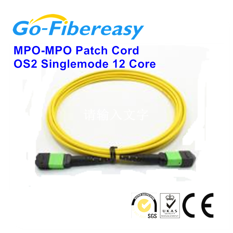 5pcs/lot 1m MPO to MPO Fiber Optical Patch Cord,Singlemode 12Core LSZH 9/125um fiber cable 3mm