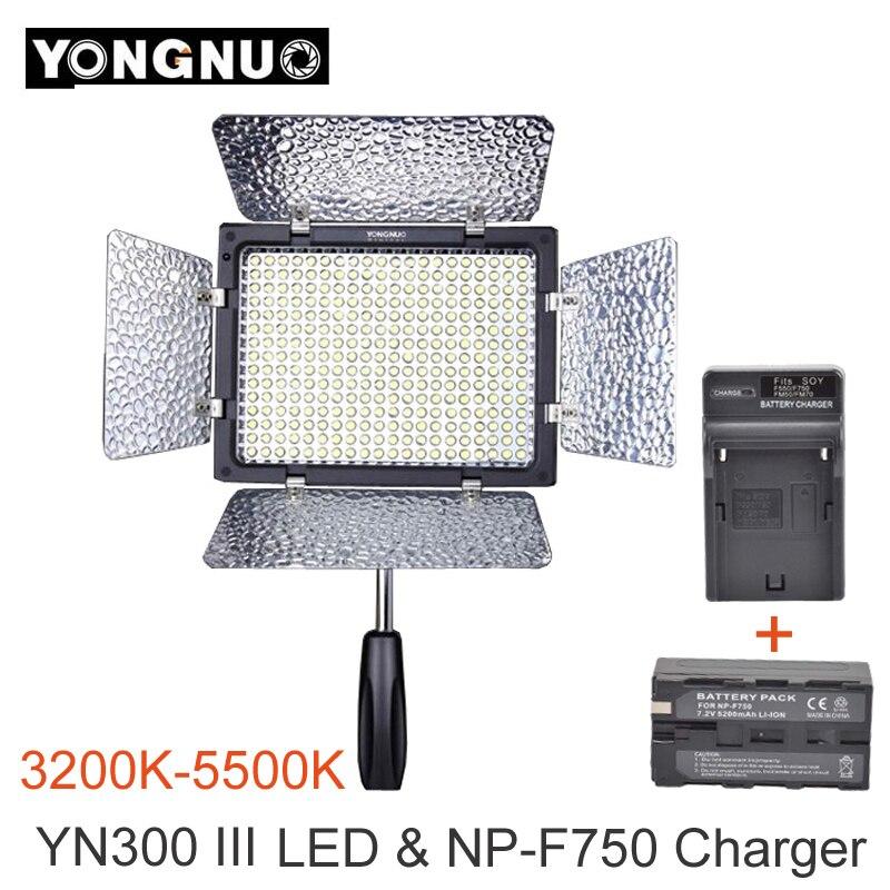 Yongnuo YN300 III YN-300 III 3200 k-5500 K CRI95 Caméra Photo LED Lumière Vidéo avec 5200 mAh NP-F750 batterie Pack avec Chargeur ensemble