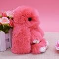 14 cm piel de Conejo Auténtica rex Esponjoso pom pom mujeres Conejito llavero bolso colgante de los encantos llaveros baratija creativo Mini animales